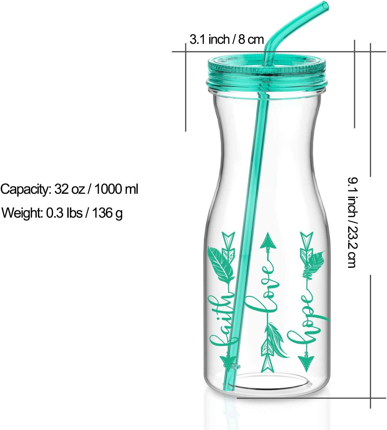 BPA Free Artoid Mode 1000ml Motivational Tumbler with Straw Faith Love Hope Arrow Dishwasher-Safe Tritan Water Bottle Drink Cup with Twist Lid