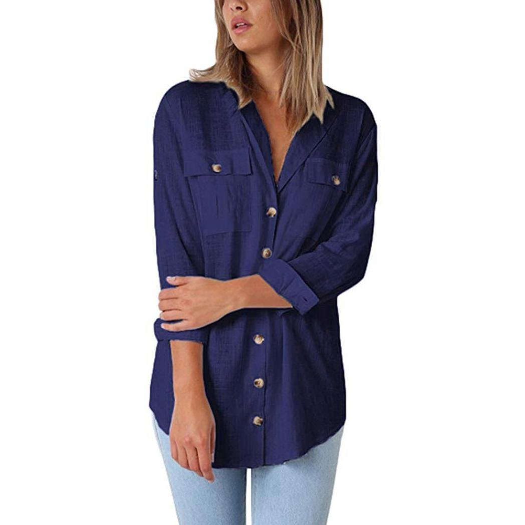 8fb46bacd0b5d4 Womens basic casual V-neck button blouses. This flattering linen shirt is  ready for you to receive ...
