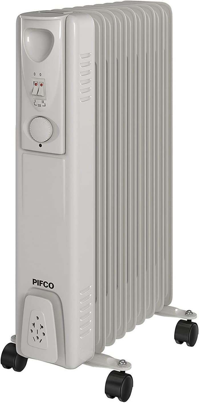 PIFCO P43004Y Oil Filled Radiator with 3 Heat Settings, Adjustable Thermostat, Overheat Protection Feature, Environmentally Conscious, 9 Fins, 2000 W, White