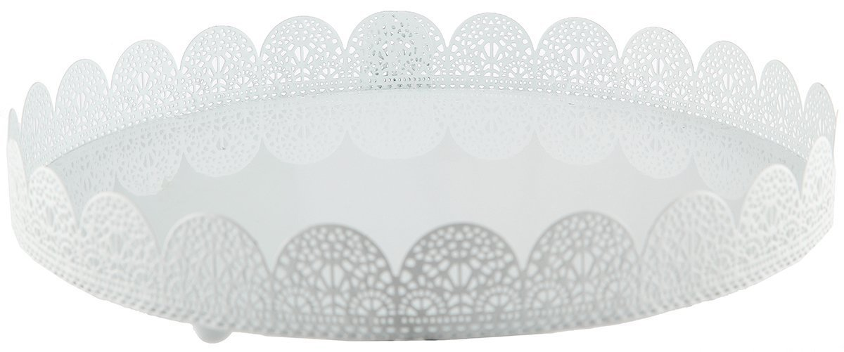 White Metal Cake Stand - Lace Design Perfect for Wedding, Quinceanera, Sacraments, Baby Shower Desserts - 10 x 1.5 Inches