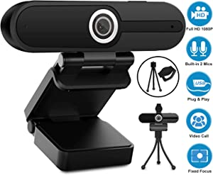 Webcam with Microphone, YQE Web Camera Full HD 1080P Webcam with Cover Tripod, Laptop PC Desktop Computer Camera Windows Mac OS for Video Calling Streaming Gaming Zoom YouTube Skype Hangouts Facetime