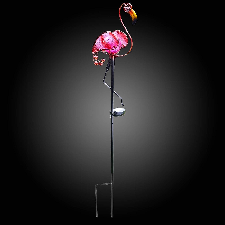 Blumenbeet Flamingo Garden Mile/® Exotische Vogelmotive aus Glas und Metall f/ür den Garten einzigartige Neuheit Tier-Gartendekoration Solar-Erdspie/ß bunte Terrassenbord/üre Gehweg