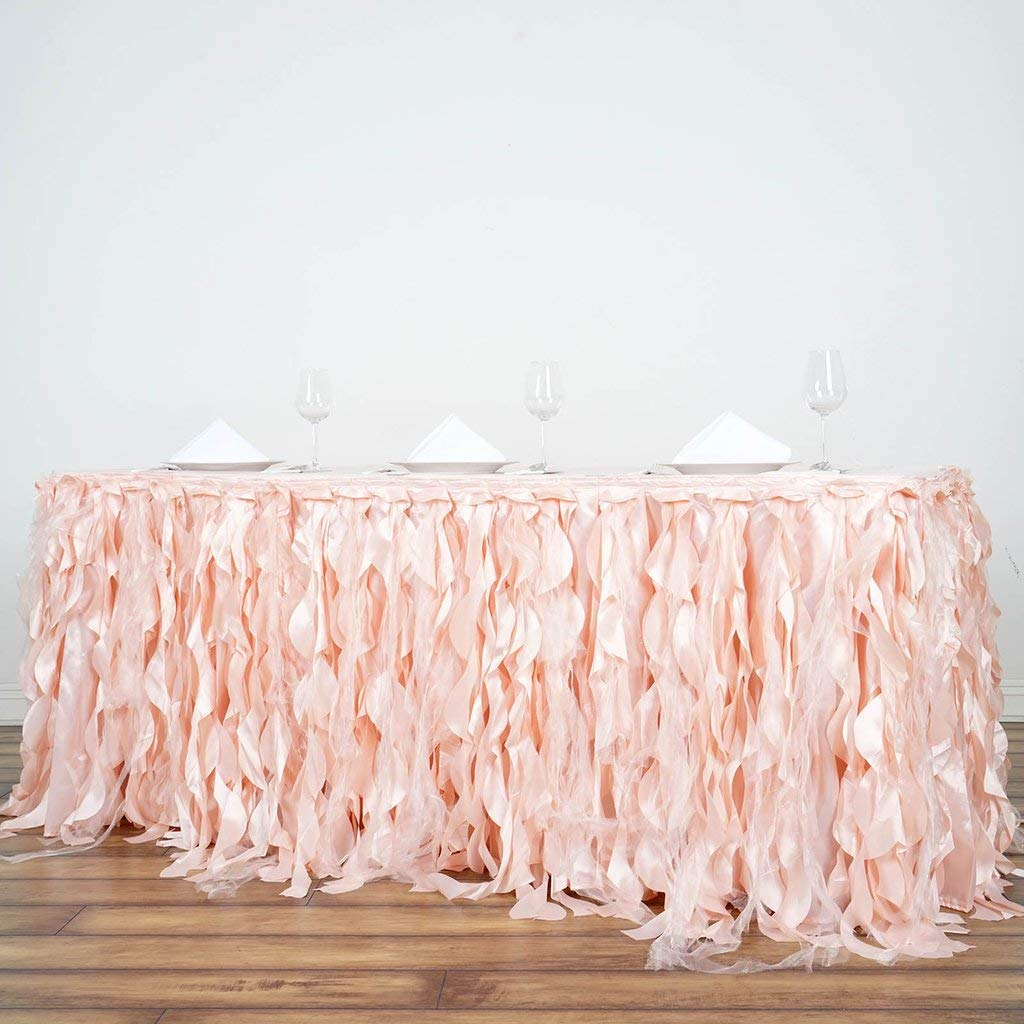 Tableclothsfactory 14ft Enchanting Curly Willow Taffeta Table Skirt for Kitchen Dining Catering Wedding Birthday Party Events - Blush by Tableclothsfactory