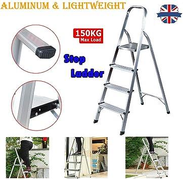 Escalera plegable de aluminio antideslizante para interiores, escaleras, escaleras, portátil, ligera, decoración, 4 peldaños 150 kg de carga de seguridad: Amazon.es: Bricolaje y herramientas