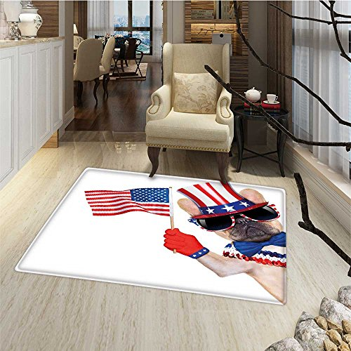 4th of July Floor Mat for kids Pug Dog Wearing Patriotic Acc