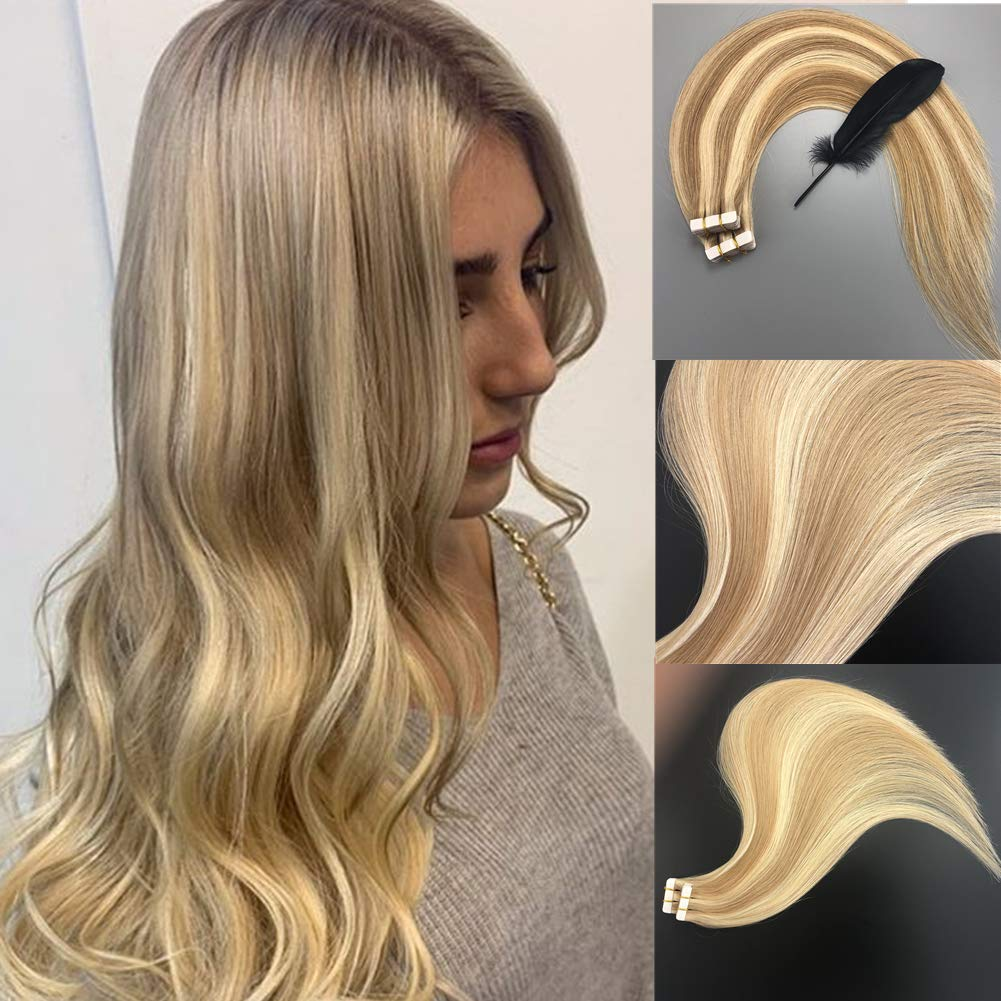Hair Extensions Tape in Balayage Hair Exteniosn 100% Real Remy Human Hair Extensions Honey Blonde Highlighted with Bleach Blonde P27/613 Tape in Natural Hair 20pcs 50g by Vowinlle