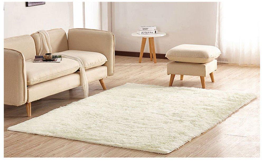 Super Soft Modern Shag Area Rugs Fluffy Living Room Carpet Comfy Bedroom Floor Bathroom Pets Home Hotel Mat Rug 6.6 Feet by 8.3 Feet,White