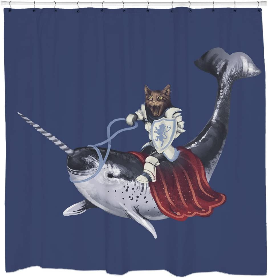 Sharp Shirter Funny Cat Shower Curtain Set Awesome Narwhal Kitty Art Medieval Bathroom Decor Ocean Theme Blue Fabric Hooks Included