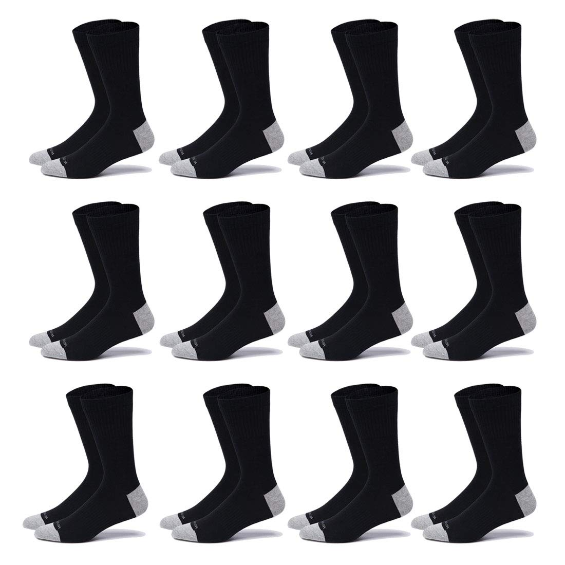 WANDER Tall Crew Socks Mens Thin Cotton 7-Pack/12-Pairs Casual Work Socks FIT 6-13