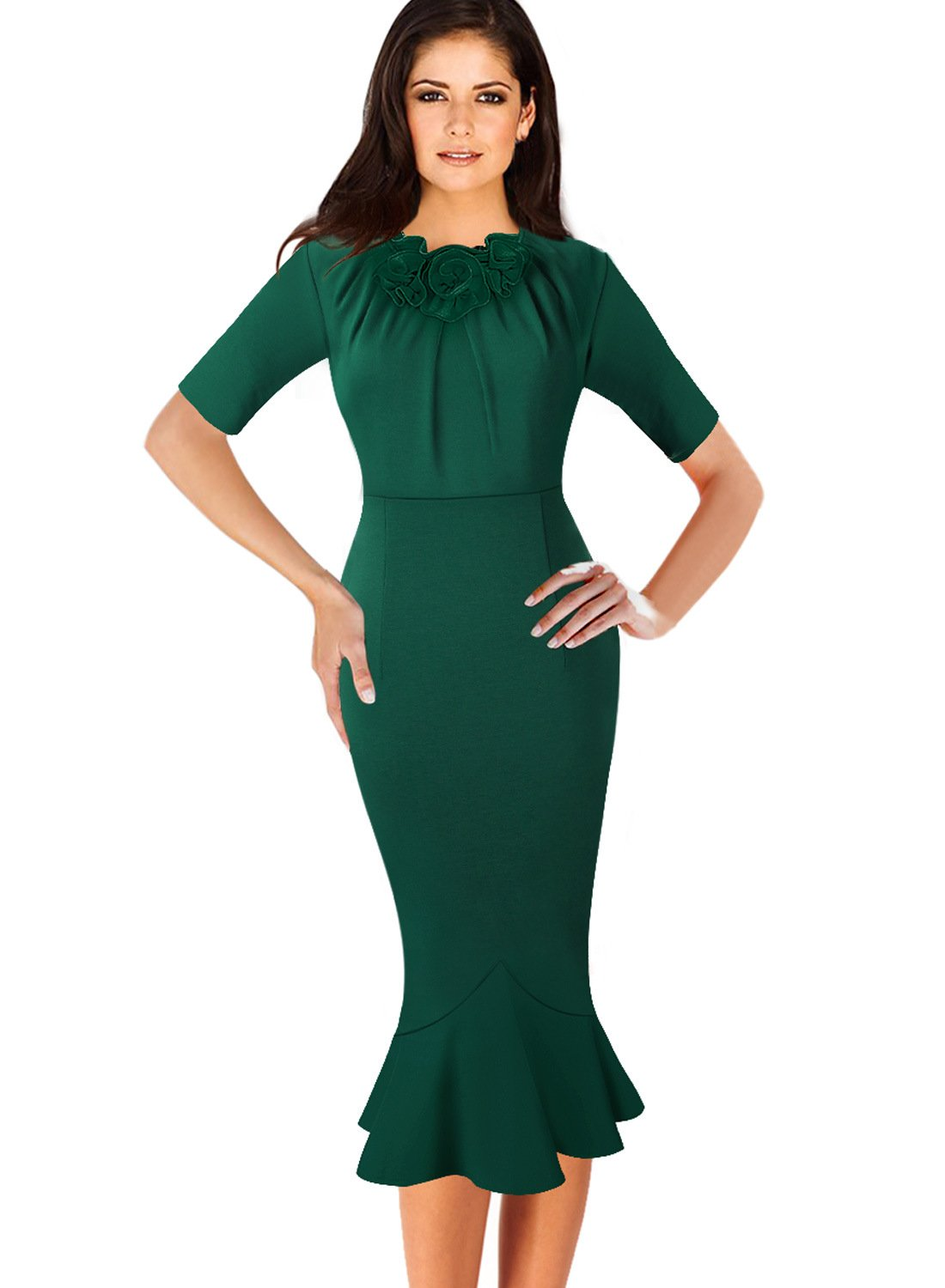 VfEmage Womens Elegant Vintage Cocktail Party Mermaid Midi Mid-Calf Dress 8923 GRN 16 by VfEmage