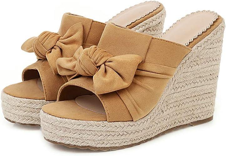 Garggi Plateforme Compens/ées Espadrilles Bride Cheville Femmes Pointu Mode Chaussures