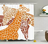 Giraffe Shower Curtain Set by Ambesonne, Sketch of A Giraffe Family Wildlife in African Tall Animal Zoo Camouflage , Fabric Bathroom Decor with Hooks, 75 Inches Long, Orange White Brown