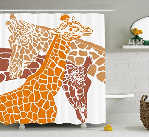 Giraffe shower curtain set by ambesonne sketch of a for Zoo bathroom decor