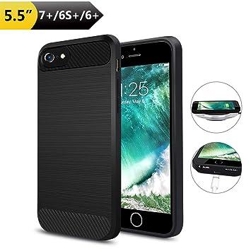 Qi Receptor Funda Receptor Carga Inalámbrico iPhone 7 plus/ 6 plus/ 6s plus Ultrafino a Prueba de Golpes Antideslizante Puede Ser la Carga por el Sin ...