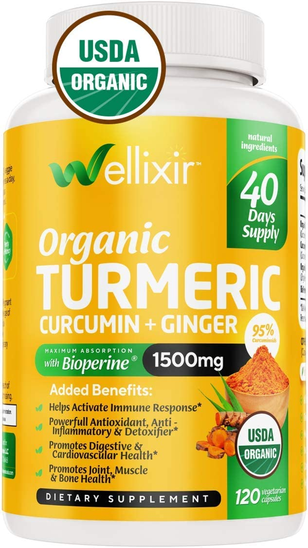 Wellixir Organic Turmeric Supplement Curcumin with Bioperine Capsules 120 Veggie Caps with Ginger Root Extract, Curcumin and Turmeric for Joint Health 95 Curcuminoids Formula
