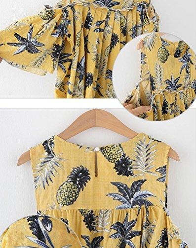 Heheja Loisirs T Shirts Jaune Bretelles Chemisier Femme Chic Blouse Sans Plissage Tops ZC1rZ