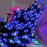 ZITRADES Waterproof 100 LED 8 Modes Solar Fairy String Lights, 55 Feet, Blue