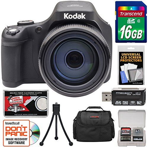 KODAK PIXPRO AZ901 90x Astro Zoom Digital Camera (Black) with 16GB Card + Case + Tripod + Kit