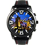 Tower Bridge à Londres - Montre Homme - Bracelet Silicone Noir