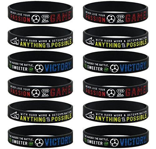 (12-pack) Soccer Motivational Silicone Bracelets - Wholesale Bulk Soccer Jewelry, Sports Gifts, Party Favors and Supplies