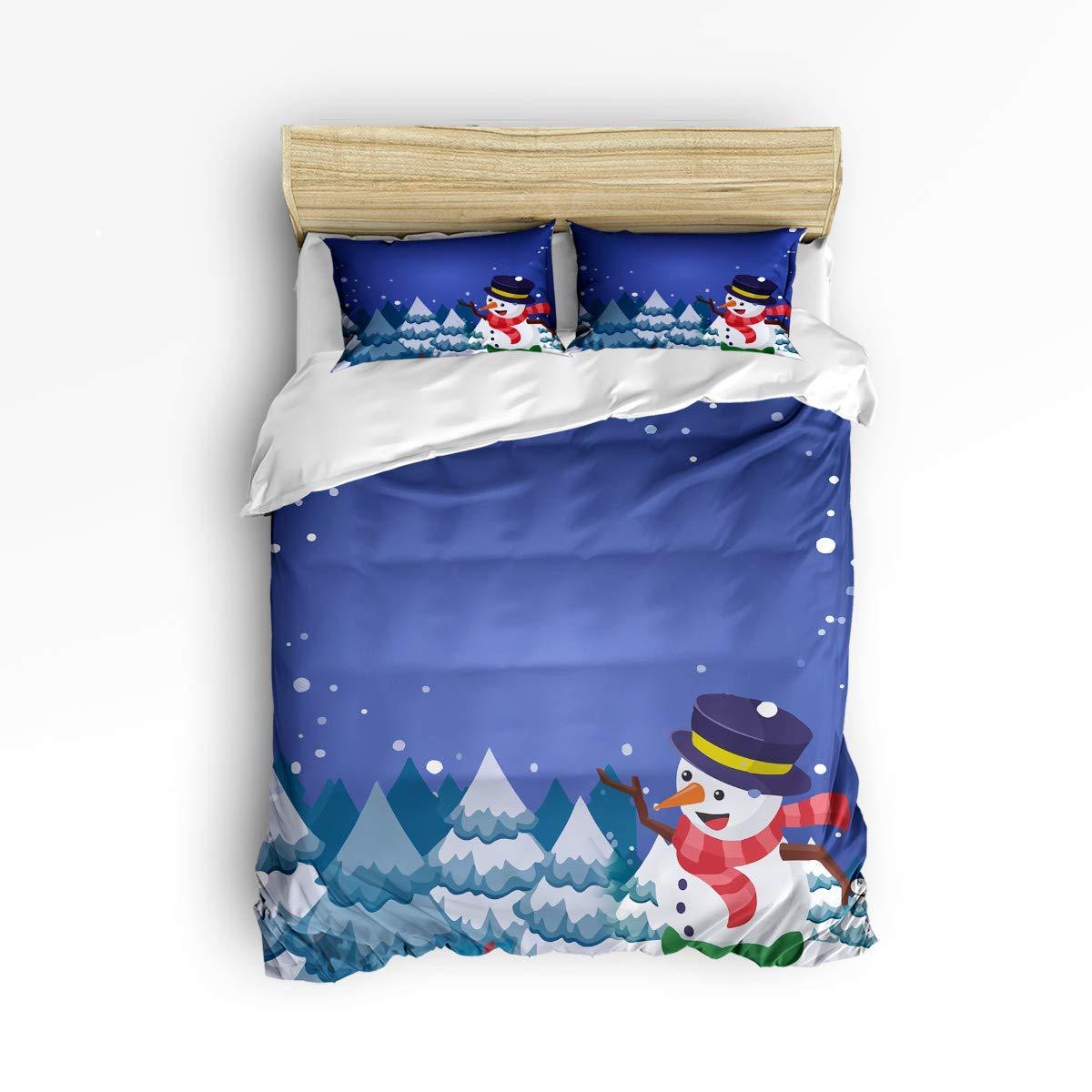 ZOMOY 寝具3点セット クリスマス 雪だるま フォーマル 帽子 雪の中に立つ 自然の夜 3ピース 掛け布団カバーセット ベッドスプレッド デイベッド 子供/子供/ティーン/大人 King Size zly3pcsbeds-181022-SWTQ00409SJSDAZN B07QHXV9WD Hatsnowmanazn7472 King Size