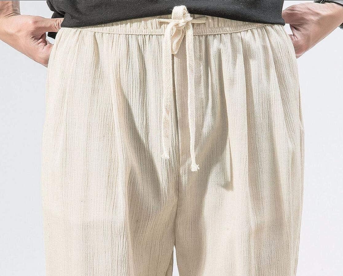 omniscient Men Cotton Linen Harem Pant Drawstring Elastic Waist Casual Baggy Ankle-Length Trouser