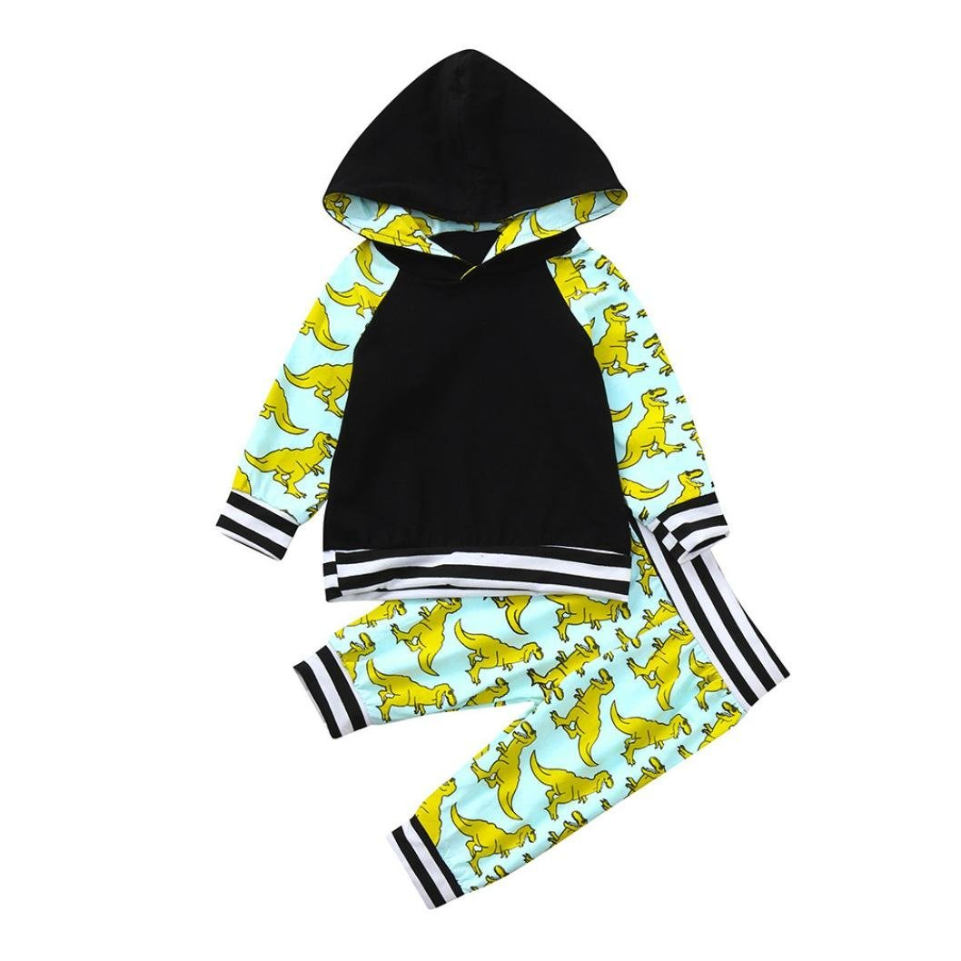 Dinlong Kid Baby Girls Long Sleeve Dinosaur Hoodie Tops and Pants Striped Outfit (6-12 Month, Black)