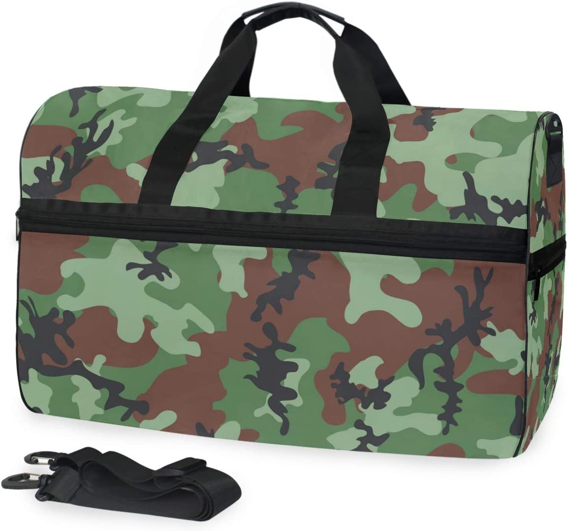 Camouflage Sports Gym Bag with Shoes Compartment Travel Duffel Bag for Men and Women