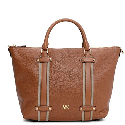 bb199f3c89 Michael Kors Large Griffin Acorn Leather Satchel Bag Tan Leather:  Amazon.co.uk: Clothing