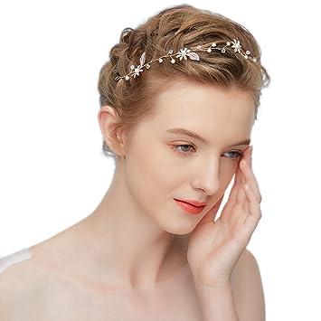 6810c28ebb534f hopewey Blume Haarschmuck Hochzeit Vintage Braut Haar Kamm haarclips Blatt  Haar Accessoires Braut Kopfschmuck Stirnbänder Strass