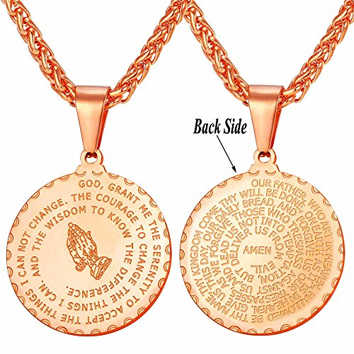 Coin Symbolize Gold - U7 Men Women Rose Gold Plated Bible Verse Prayer Necklace with 22