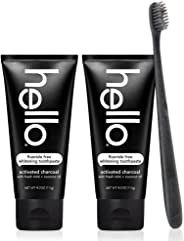 Hello Oral Care Activated Charcoal Teeth Whitening Fluoride Free & SLS Free Toothpaste 2 Pack with BPA Free Toothbrush