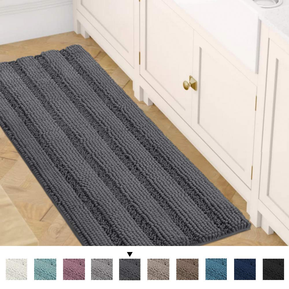 Bath Rug Runner 47'' X 17'' Large and Luxury Grey Striped Bath Mat Runner Ultra Soft Thick Non Slip Washable, Plush Shaggy Chenille Bathroom Rug Mat for Indoor Floor/Entry Way by H.VERSAILTEX