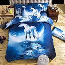 Fashion 3D Galaxy Series Bedding Sets Comforter Cover,Mysterious Boundless Horse Outer Space Duvet Cover Sets-4pcs Twin Size Polyester Printed Quilt Cover Sets For Kids Boys Girls Decor Bedding Sets