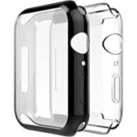 Simpeak Full Protector Case Compatible with iWatch 40mm, [2 Packs] [All-Around] Soft TPU Clear Touch Screen Protector Bumper Cover for 40mm iWatch Series 4,Series 5, Clear+Black