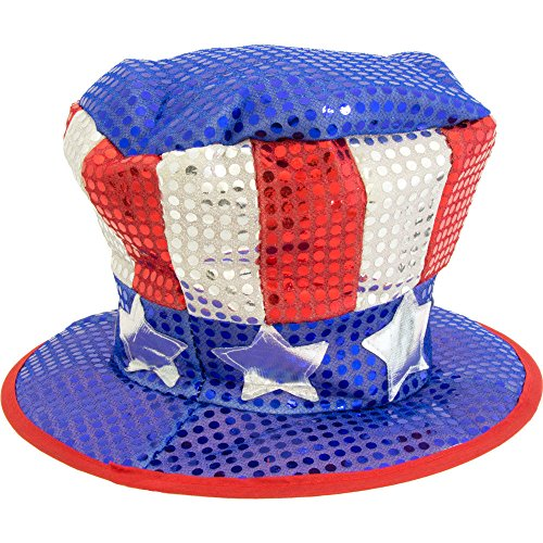 Jacobson Hat Company Men's Red White and Blue Sequin Top Hat with Stars, Multi, One Size]()