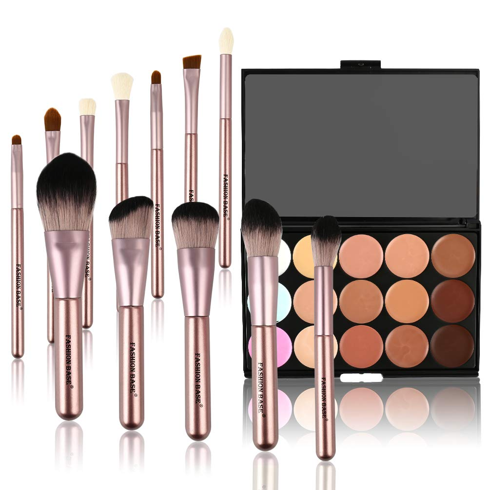 Makeup Palette Brushes Set,12Pcs Pro Premium Synthetic Make up Brush + 15 Color Cosmetics Cream Contour-Contouring Foundation Concealer Camouflage Palette Highlighting Makeup Kit