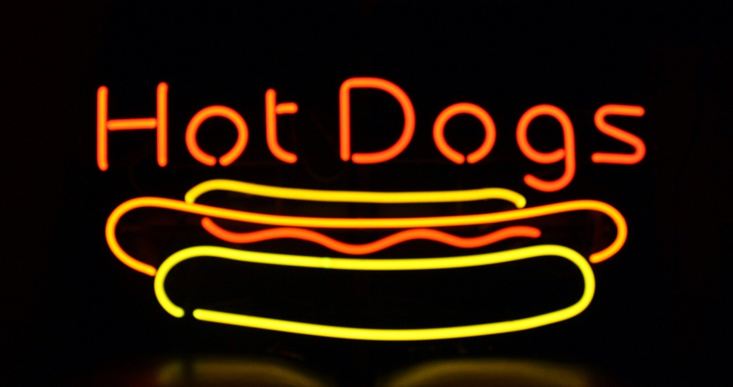 Hot Dog Neon Light Box Sign for Business and Restaurant