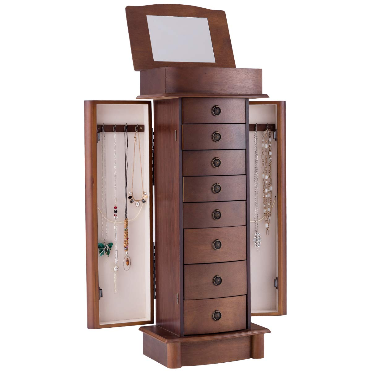 Giantex Jewelry Armoire Cabinet Stand with 8 Drawers,Top Divided Storage Organizer with Flip Makeup Mirror Lid Large Side Door Chest Cabinets, Antique Wood Standing Armoires Jewelry Box w/ 8 Hooks