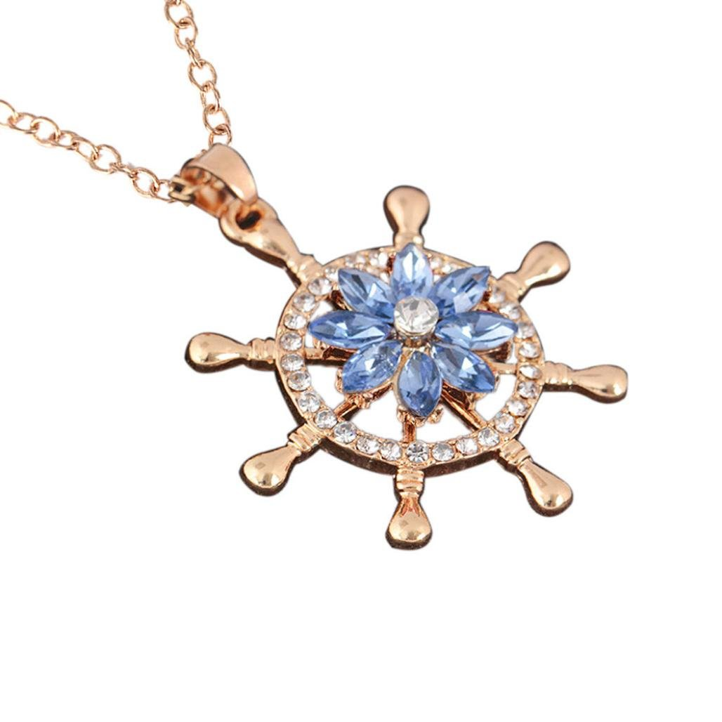 Clearance! Charm Necklace For Women Fashion Creative Ferris Wheel Rotation Pendants With Crystal Flowers Chain Jewelry (F, alloy)