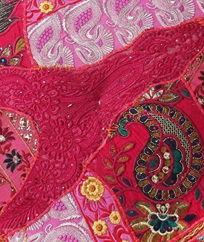 Taille?: 81,3/x 22,9/x 81,3/cm JTH Vintage indien ethnique Bohemian Patchwork Pouf Ottoman Tabouret de pied