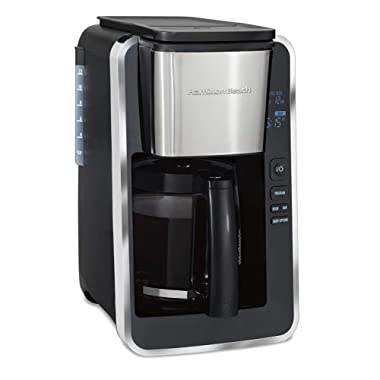 Hamilton Beach Programmable 12 Cup Coffee Maker, Easy Front Access Deluxe, Brew Options, Black and Stainless (46320)