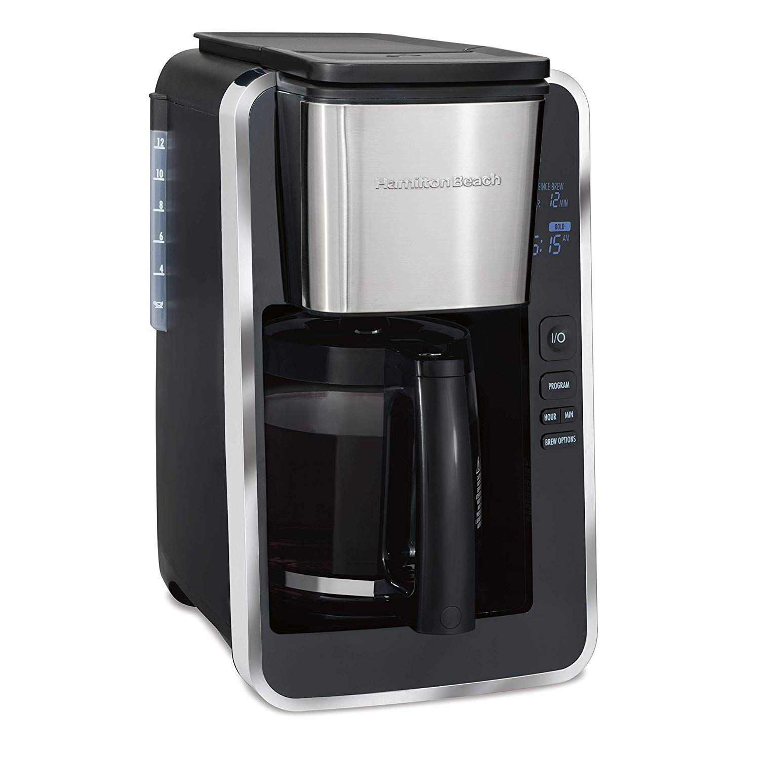 Hamilton Beach Programmable 12 Cup Coffee Maker, Easy Front Access Deluxe, Brew Options, Black and Stainless (46320), by Hamilton Beach (Image #1)