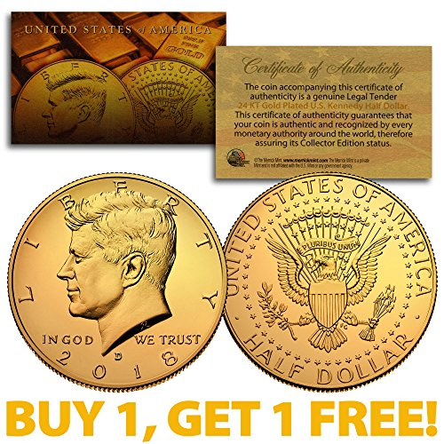 2018-D 24K GOLD Gilded JFK Kennedy Half Dollar Coin (D Mint) BUY 1 GET 1 FREE 24k Gold Coin Mint