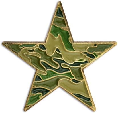 PinMart Green Camouflage Star Military Enamel Lapel Pin