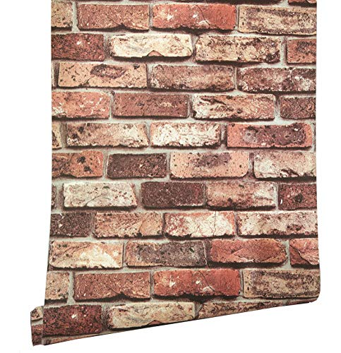(Blooming Wall Faux Vintage Multi-Color Red Brick Texture Wallpaper,Wall Mural Wall Paper,57 Sq Ft/Roll (31))