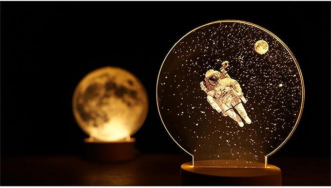 yue-veilleuse luna planeta luz nocturna de noche 3d lámpara LED ...