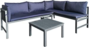 AmazonBasics Aluminum Outdoor L-Shaped Sofa Lounge Set with Cushions and Table - Navy