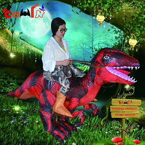 COMIN.NET Inflatable Dinosaur Costume Riding a T-REX Air Blow-up Deluxe Halloween Costume ()