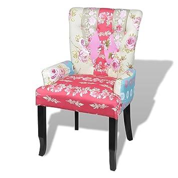 Luckyfu esta sillón Francesa con diseño Patchwork de Tela ...